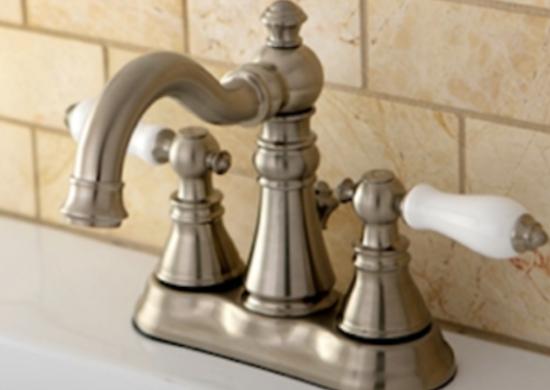 Americanpatriot two lever bathroomfuacet porcelainhandles satinnickel