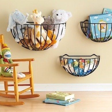 Hang Repurposed Planter Baskets On The Wall To Get Odds And Ends Off The  Floor. When Your Kids Outgrow This Storage System, You Can Always Return  The ...