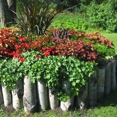 Log lined flower bed decoist
