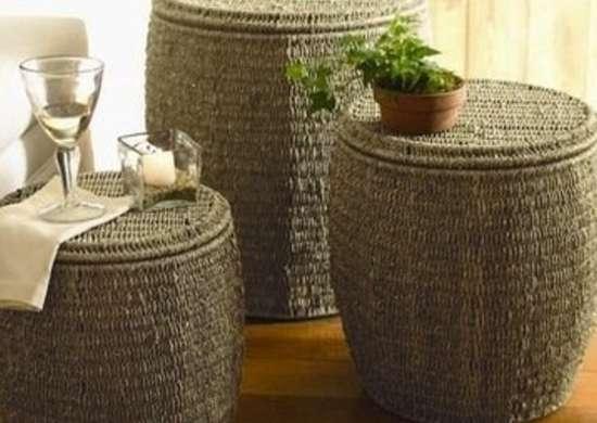 Seagrass storage ottoman
