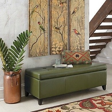 Dylan textured leather storage ottoman grandinroad