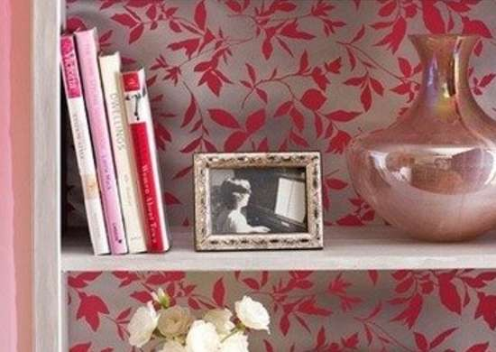 Wallpapered bookcase suhairah homeinteriodesign