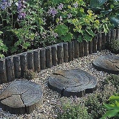 Garden Stepping Stones Ideas natural garden stepping stone with slate decoration Sliced Wood