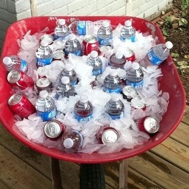 Wheelbarrow ice cooler youmeandallthekids