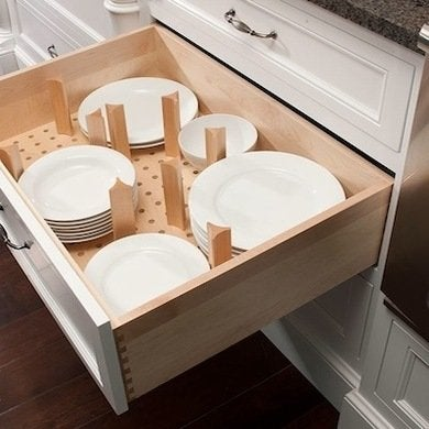 Drawer with plate dividers mulletcabinet