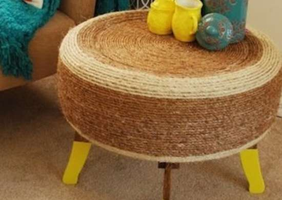 Repurposed Tire Coffee Table
