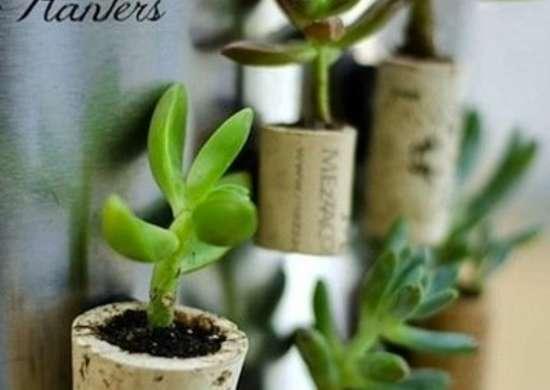 Wine cork planters