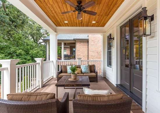 Wood plank ceiling porch