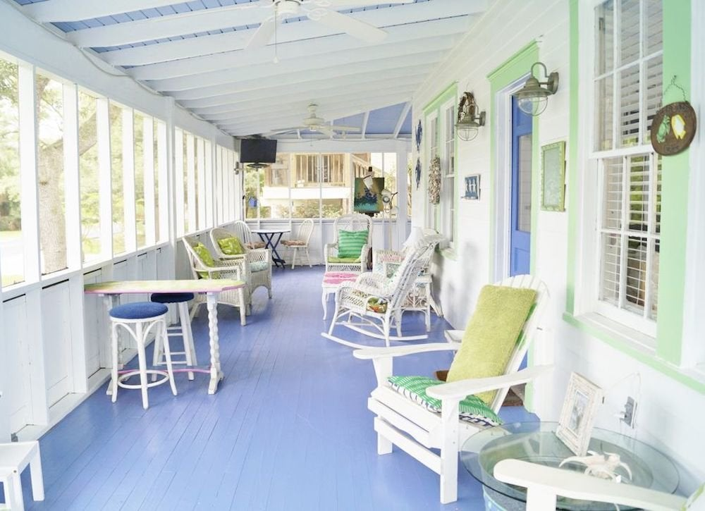 Bright painted floor porch