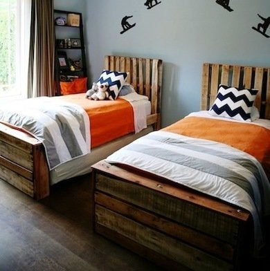 these twin diy bed frames are made from slats taken from the childrens former bunk beds they incorporate scrap wood for the foot and headboards to create