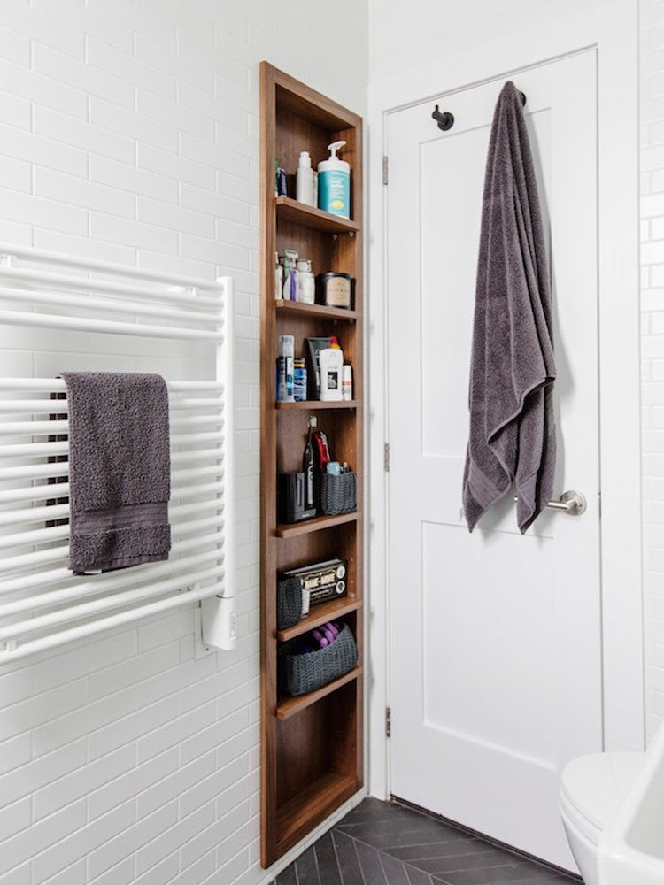 Bathroom recessed shelving
