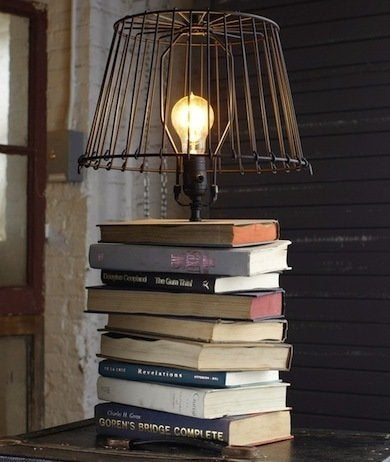 Repurposing projects 14 ways to make good use of old stuff bob vila this project is easier than it looks drill a hole through each volume in the stack string some lamp wire through then glue a socket to the top book greentooth Gallery