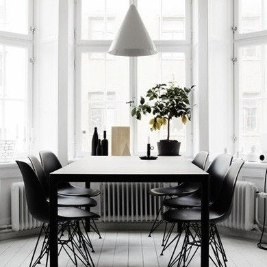 Black and white dining room of therese sennerholt