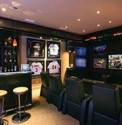 Sports themed home bar entertainment center decoist