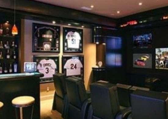 Sports themed home bar entertainment center decoist