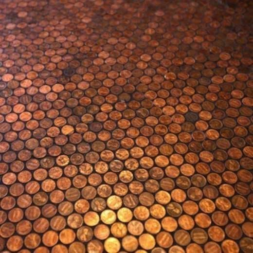 Cheap Flooring Ideas - DIY Penny Floor