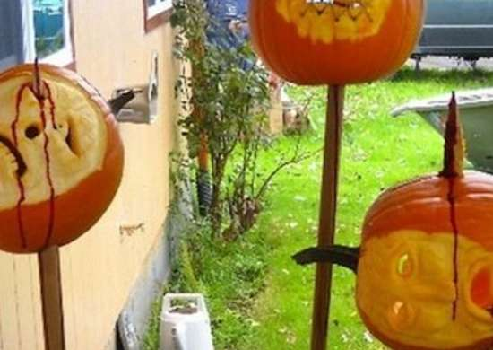 Pumpkins on sticks
