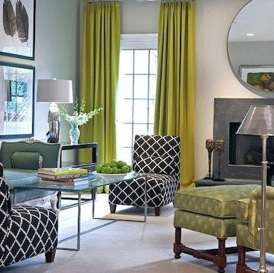 Gray living room green curtains drapes thelennox