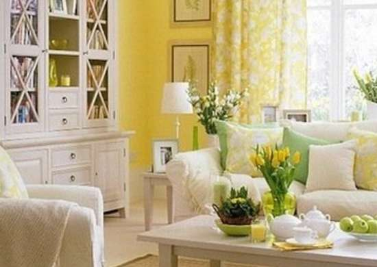 Light lemon yellow wall funshuidana