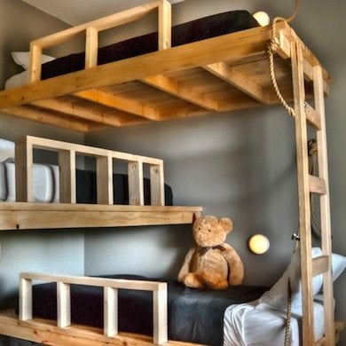make the most efcient use of a by stacking three bunks in a corner in a pattern this diy model is constructed