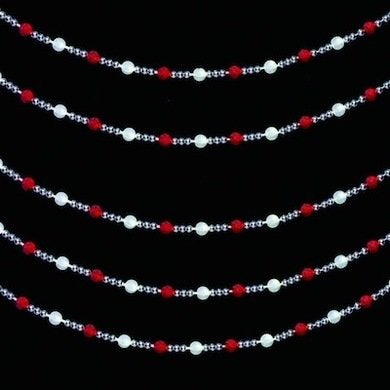 Red warm white led bead garland