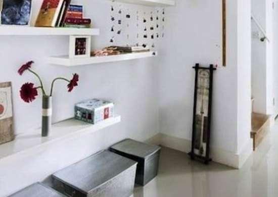 Floating shelves hallway