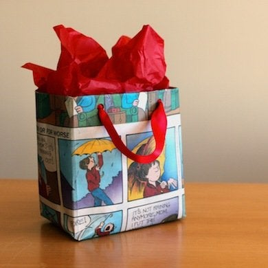 Newspaper gift bag gift wrap