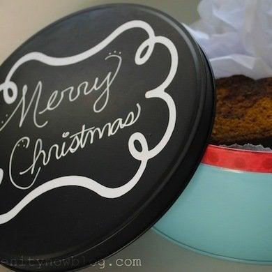 Chalkboard gift tin gift wrap