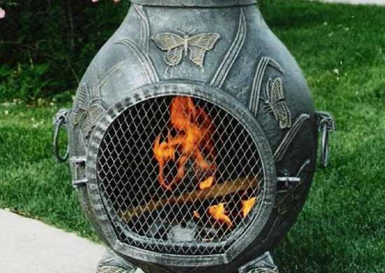 Oakland Living Antique Pewter Butterfly Chiminea