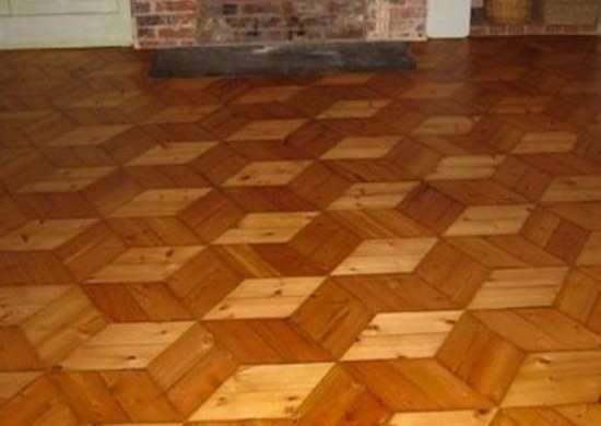 The Placement Of Light And Dark Stained Short Wood Pieces Creates The  Illusion Of Three Dimensional Building Blocks In This Restored Parquet Floor  In A ...