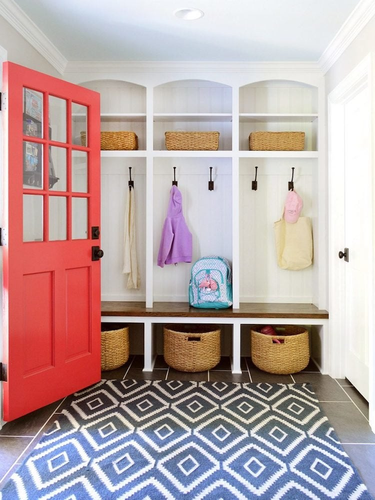 Mudroom Cubbies This Family Built A Nook For Each Child To Their Belongings Baskets Shelves And Hooks Plenty Means No One S Shoes Or Backpacks