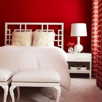 A Red Wall Accentuates The Impact Of This White Geometric Headboard Walls Can Make Room Feel Dark So Pairing With Is Great Way To Keep
