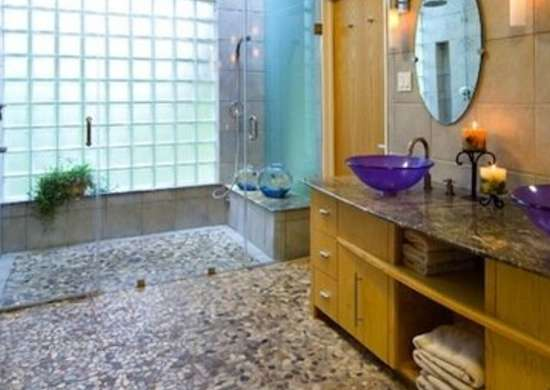natural stone pebble floor bathroom design