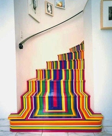 You Can Play With Vinyl Floor Tape To Create Striped Masterpieces On Your Floors And Stairways Like The Colorful