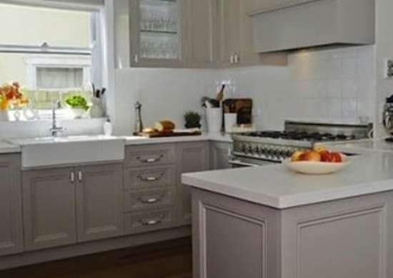 taupe cabinets - painted kitchen cabinets - 14 reasons to