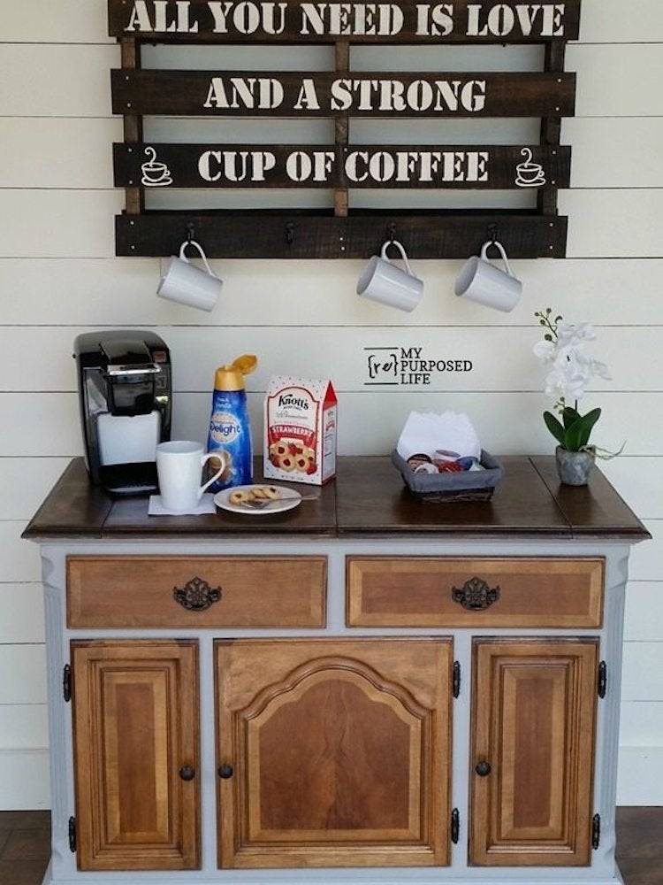 DIY Coffee Bar - Perk Up Your Home Design - Bob Vila on coffee mug, coffee can kitchen, coffee kitchen decor, coffee themed kitchen towels, white kitchen, table kitchen, coffee pot kitchen, coffee kitchen ideas, tea cup kitchen, coffee kitchen curtains, coffee theme kitchen rugs, coffee shop kitchen,