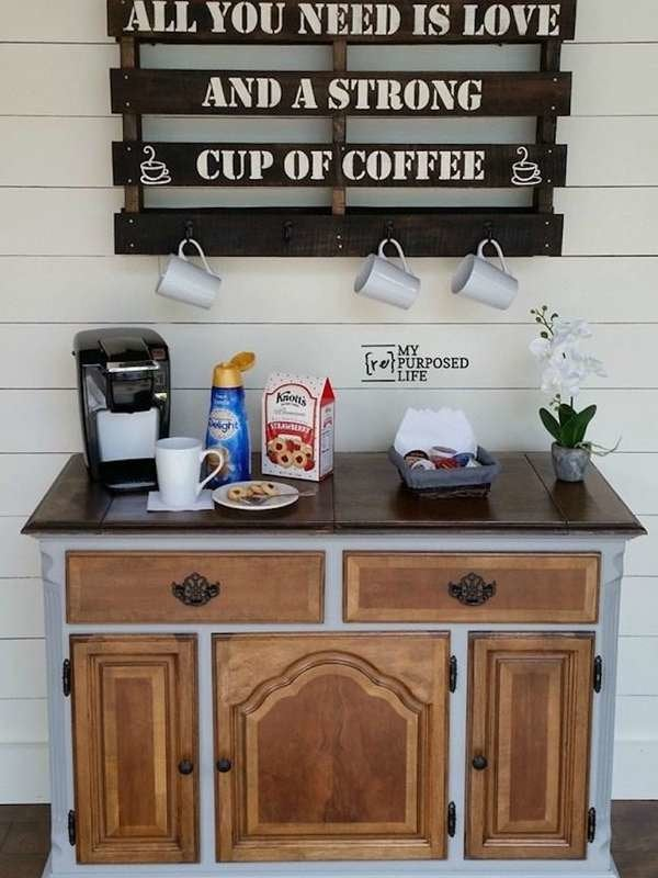 Home Kitchen Dinnerware Stemware Storage Coffee Bar Or Cafe Gray And White 25 X 13 Wall Mounted Coffee Cup Organizer Rack Rustic Farmhouse Wood Wall Decor Sign For Kitchen Barnyard