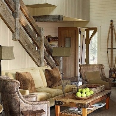 Rustic Living Room. In This Staircase Railing ...
