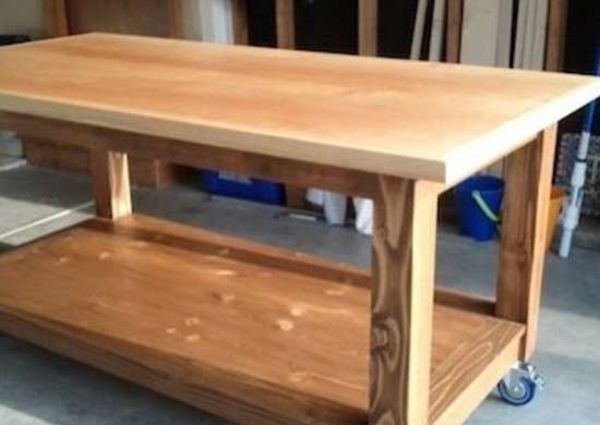 Diy mobile workbench diy craft table 15 great work for Wood work table design