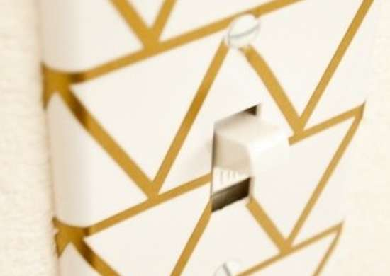 Gold and White Switch Plate