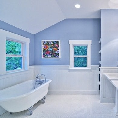 A Cheerful Blue Purple As Fresh The Flower Itself Periwinkle Is Fun Color To Use In Bath Beadboard And Clawfoot Tub Underscore This Room S