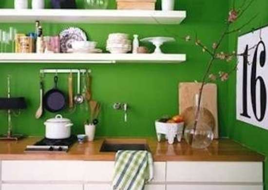 Green Kitchen with Shelves
