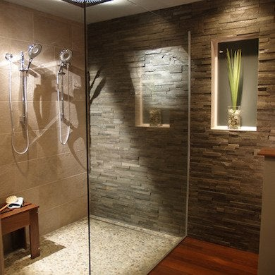 Stone Tile Bathroom Cool Showers 10 Walk In Showers