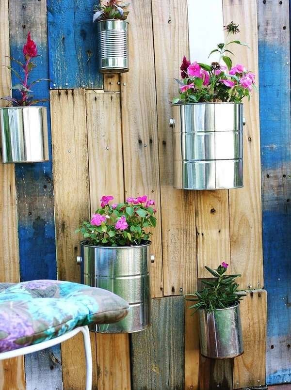 Pallet and Paint Can Vertical Garden