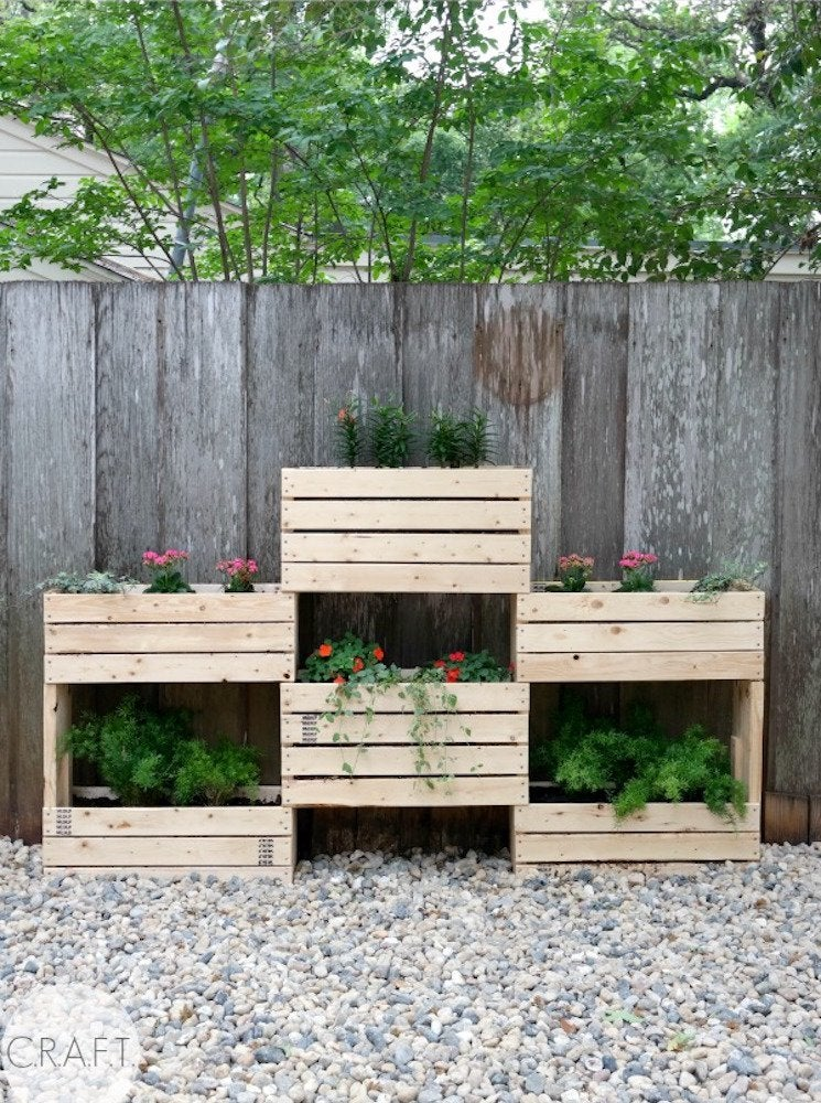 Wood crate planters