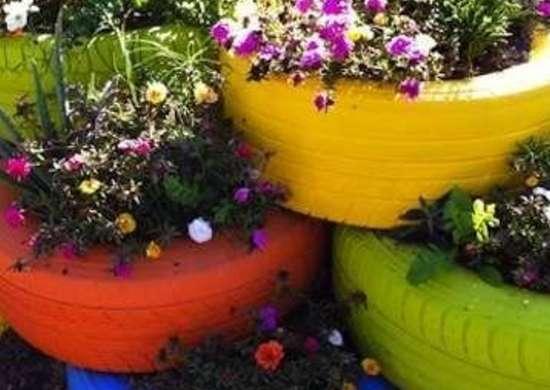 DIY Tire Planters