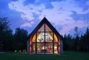 Hudson passive house peter aaron photographer exterior dusk