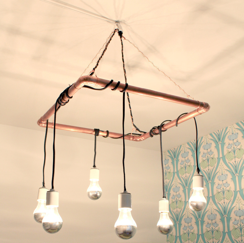 Bare Bulb Hanging Pendant Lights 2 Copper Pipe Chandelier