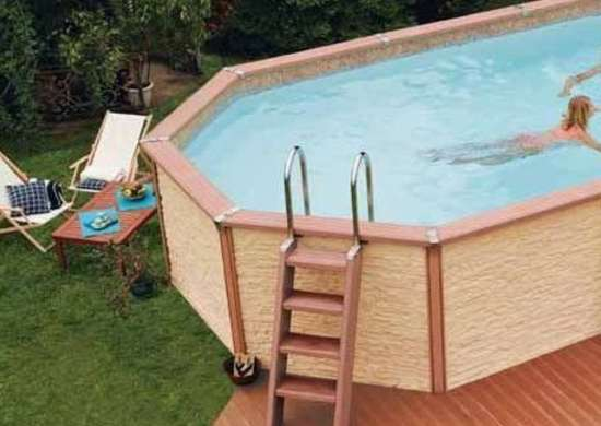Above Ground Pool with Wood Surround