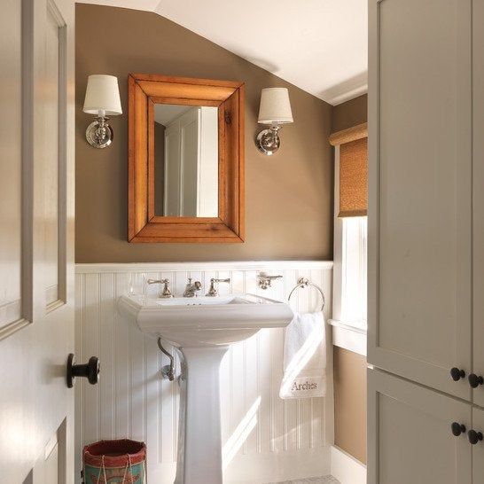 A Sophisticated Spin On Cottage Style, This Powder Room Combines A Pretty  Light Brown Shade On The Upper Walls With White Beadboard Down Below.